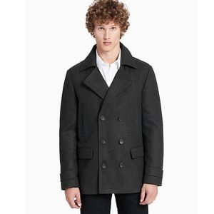 CALVIN KLEIN NWT Men's Gray Wool  Peacoat Coat